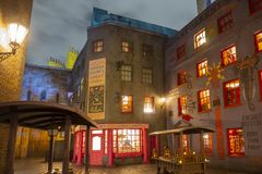 Diagon Alley in Universal Orlando at night, FL, USA. Diagon Alley at night in the Wizarding World of Harry Potter in Universal Orlando, Florida, USA stock images