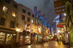 Diagon Alley in Universal Orlando at night, FL, USA. Diagon Alley at night in the Wizarding World of Harry Potter in Universal Orlando, Florida, USA royalty free stock photos