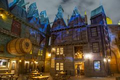 Diagon Alley in Universal Orlando at night, FL, USA. Diagon Alley at night in the Wizarding World of Harry Potter in Universal Orlando, Florida, USA stock photos