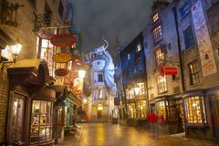 Diagon Alley in Universal Orlando at night, FL, USA. Diagon Alley at night in the Wizarding World of Harry Potter in Universal Orlando, Florida, USA stock photography