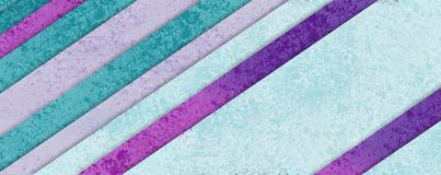 Diagonaal streeppatroon in pastelkleur blauwgroen purper en roze materieel ontwerp met lagen vormen, abstracte achtergrond royalty-vrije illustratie