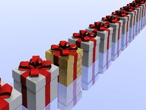 Diagonal. Many christmas presents (more in portfolio Royalty Free Stock Photography