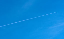 Diagonal airplane trace Royalty Free Stock Image