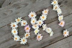 Diagonal Aufschrift ` O.K.! ` von den Blumen auf hölzernem Hintergrund Stockfoto