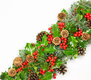 Diagonal band of fresh Christmas holly with pine cones and fir Stock Photography