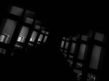 Diagonal black and white futuristic windows bokeh background Stock Photography