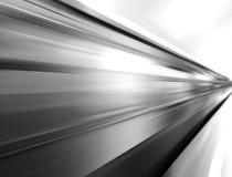 Diagonal black and white motion blur metro train background Stock Photo