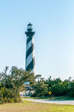 Diagonal black and white stripes mark the Cape Hatteras lighthou Stock Photography