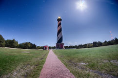 Diagonal black and white stripes mark the Cape Hatteras lighthou Royalty Free Stock Images