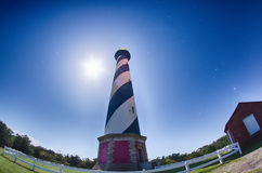 Diagonal black and white stripes mark the Cape Hatteras lighthou Stock Photo