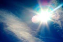 Diagonal blue instagram glowing sun flare background Stock Photo