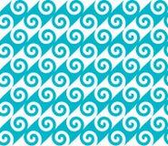 Diagonal blue spiral wave pattern. Seamless vector pattern. Stock Photos