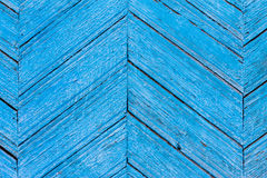 Diagonal blue  wooden fence of planks Stock Images