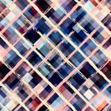 Diagonal brushed plaid on blue pixel background Stock Photos