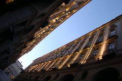 Diagonal buildings perspective stock image