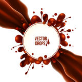 Diagonal chocolate flow with round splash and circle banner Royalty Free Stock Image