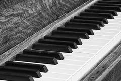 Diagonal Closeup of Piano Keys. Black and White of Piano Keys and Wood Texture royalty free stock photos