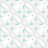 Diagonal clove leaves and flowers on green pattern Royalty Free Stock Images