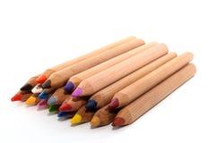 Diagonal colored pencils Stock Photos