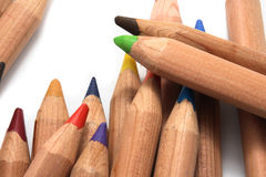 Diagonal colored pencils Royalty Free Stock Images