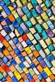 Diagonal colorful mosaic texture on wall. Diagonal colorful mosaic texture on the wall Royalty Free Stock Photo