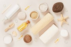 Diagonal composition of bath cosmetics on the light background. Top view royalty free stock images