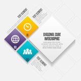 Diagonal Cube Infographic Stock Images