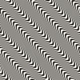 Diagonal curved wavy lines seamless pattern. Vector texture with black and white waves, stripes. Modern abstract monochrome background, motion effect. Repeat vector illustration