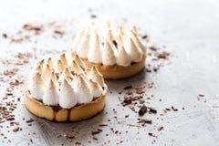 Diagonal de dos mini tartlets deliciosos de las tartas con crema del merengue y del limón en el lugar del fondo para el texto a l Fotografía de archivo libre de regalías