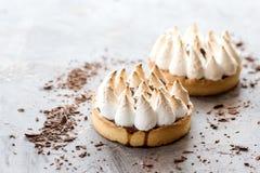 Diagonal de dos mini tartlets deliciosos de las tartas con crema del merengue y del limón en el lugar del fondo para el texto a l Imagen de archivo