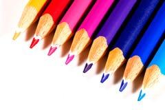 Diagonal de lápices coloreados Fotografía de archivo libre de regalías