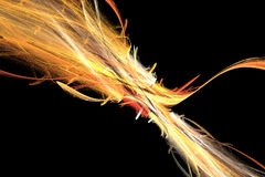 Diagonal Flare. Yellow, orange, red, white flare on black background Stock Image