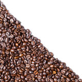Diagonal form Coffee bean. Coffee bean by diagonal on white background. Space for text Stock Image