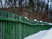 Diagonal green fence perspective Stock Photos