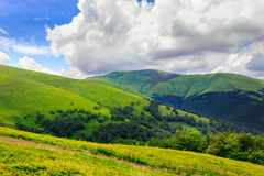 Diagonal landscape. Large cloud extends over the green hill Royalty Free Stock Image