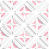 Diagonal layered frames and red lines pattern. Abstract 3d seamless background. Diagonal layered frames and red lines pattern with cut out of paper effect Stock Photos
