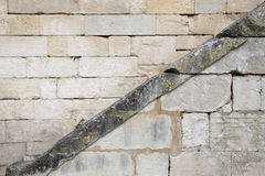 Diagonal line on a stone wall Royalty Free Stock Photo
