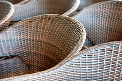 Diagonal lines and rattan armchairs Stock Photo