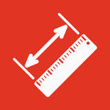 The diagonal measurement icon. Ruler and straightedge, scale symbol. Flat Stock Image