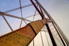 Diagonal member of a through-arch bridge in a foggy mornig. British Columbia, Canada Royalty Free Stock Photos