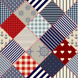 Diagonal nautical patchwork Royalty Free Stock Images