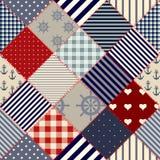 Diagonal nautical patchwork Royalty Free Stock Images