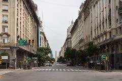 Diagonal Norte Buenos Aires Argentina. Diagonal Norte (Av Roque Saenz Pena) street leading towards the Obelisk in 9 de julio avenue in downtown Buenos Aires Royalty Free Stock Photos