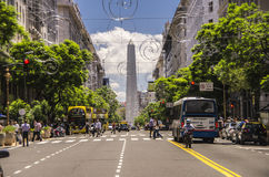 Diagonal Norte Buenos Aires Obelisk. The diagonal norte avenue leading towards the obelisk in downtown Buenos Aires, Argentina Royalty Free Stock Image