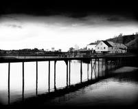 Diagonal Norway bridge over the ocean Stock Images