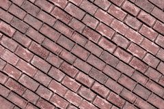 Diagonal panel brown red terracotta rectangular brick wall rectangular stone wall powerful weathering surface stock photography