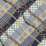 Diagonal patchwork in nautical style. Stock Images