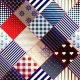 Diagonal patchwork in nautical style. Royalty Free Stock Images