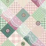 Diagonal patchwork pattern with lace. Stock Photography