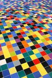 Diagonal perspective of colorful mosaic tiles. Pattern on a wall Royalty Free Stock Photos